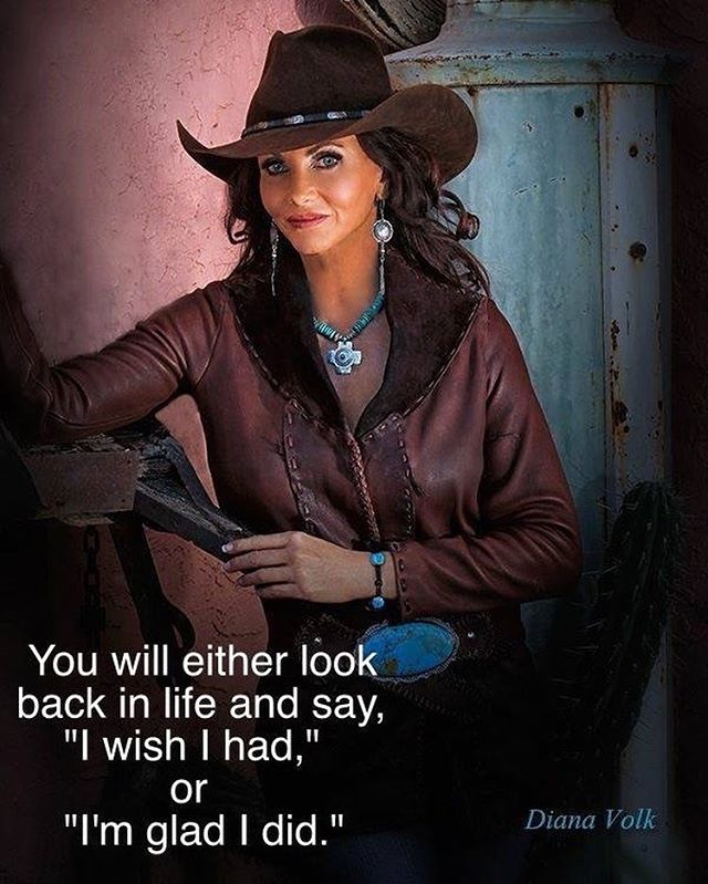 """You will either look back in life and say, """"I wish I had,"""" or """"I'm glad I did."""" What are you going to say!? @wildinstincts -Handmade leather jacket/Turquoise Buckle/bracelet, photo by @dianavolkphotography , model @bobbi_jeen_olson , US Ambassador FoRe The American Cowboy, necklace/earrings Lone Eagle Studios, hair/makeup @ms.thomas.creates , location BeDillons Restaurant, @westerntradingpost , Caryl Wilson, Cheryl Sikes"""