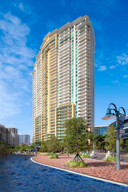 Las Olas Grand situated at 411 N New River Drive, Fort Lauderdale, FL 33301