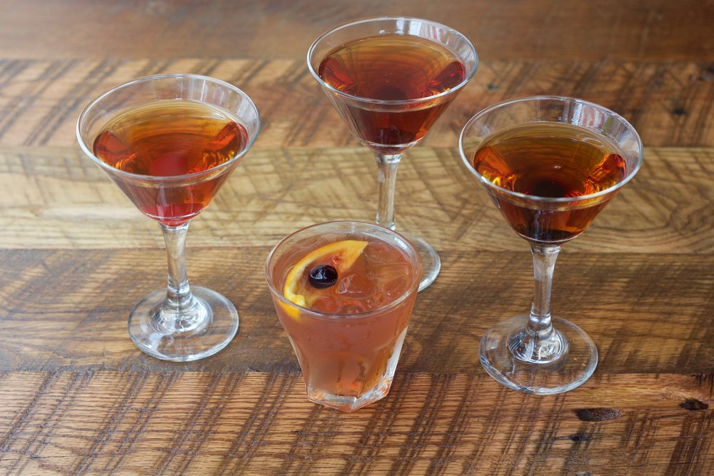 The Classic Manhattan, The Next Level Manhattan, The Ultimate Manhattan and Whiskey Sour