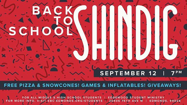 Edgewood Students: back-to-school SHINDIG is TONIGHT at 7!  We've got FREE PIZZA and SNOWCONES, some GIANT INFLATABLES, and some CRAZY GAMES!  Plus, New ESM shirts and hats are HERE and you can find out what they look like and win one tonight by bringing a friend or winning a game!  Cool stuff planned for tonight! Make sure you don't miss out!