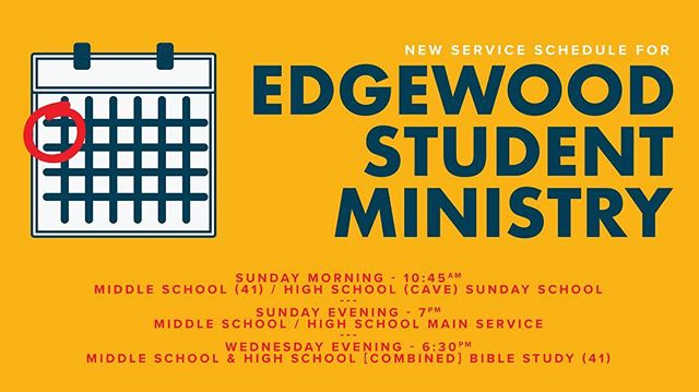 REMINDER: No service tonight! We'll see you for Sunday School on the 31st and on the 7th for the beginning of our NEW SUNDAY NIGHT SERVICES!