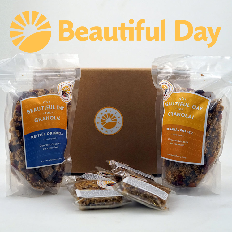 beautiFul day - Beautiful Day products are made with mostly organic grains and seeds, honey, and cranberries, freshly handcrafted in Providence, RI by newly-arrived refugees from places like Iraq, Syria, and the Democratic Republic of the Congo. Purchase a granola bag, bar, or join their monthly subscription, #TeamGranola.  www.BeautifulDayRI.org