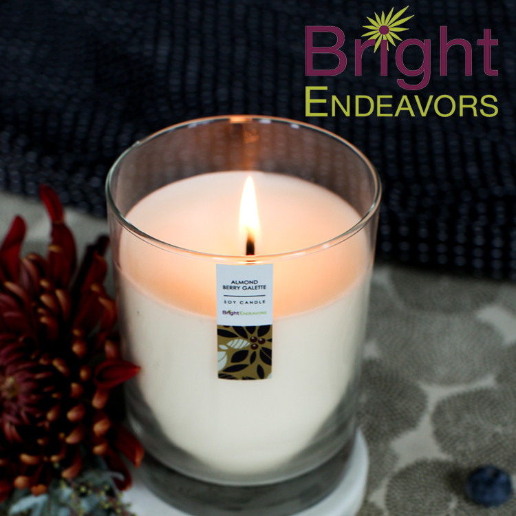 bright endeavors - Bright Endeavors is an innovative social enterprise that operates a job training program in Chicago for young moms age 16-24. Their premium soy candles come in a wide variety of beautiful scents including Almond Berry Galette, Holiday Citrus, Lavender Sprig, Pumpkin Chai, Whitebark Pine and more. Light a candle. Transform a life. Custom options avalible. www.BrightEndeavors.org