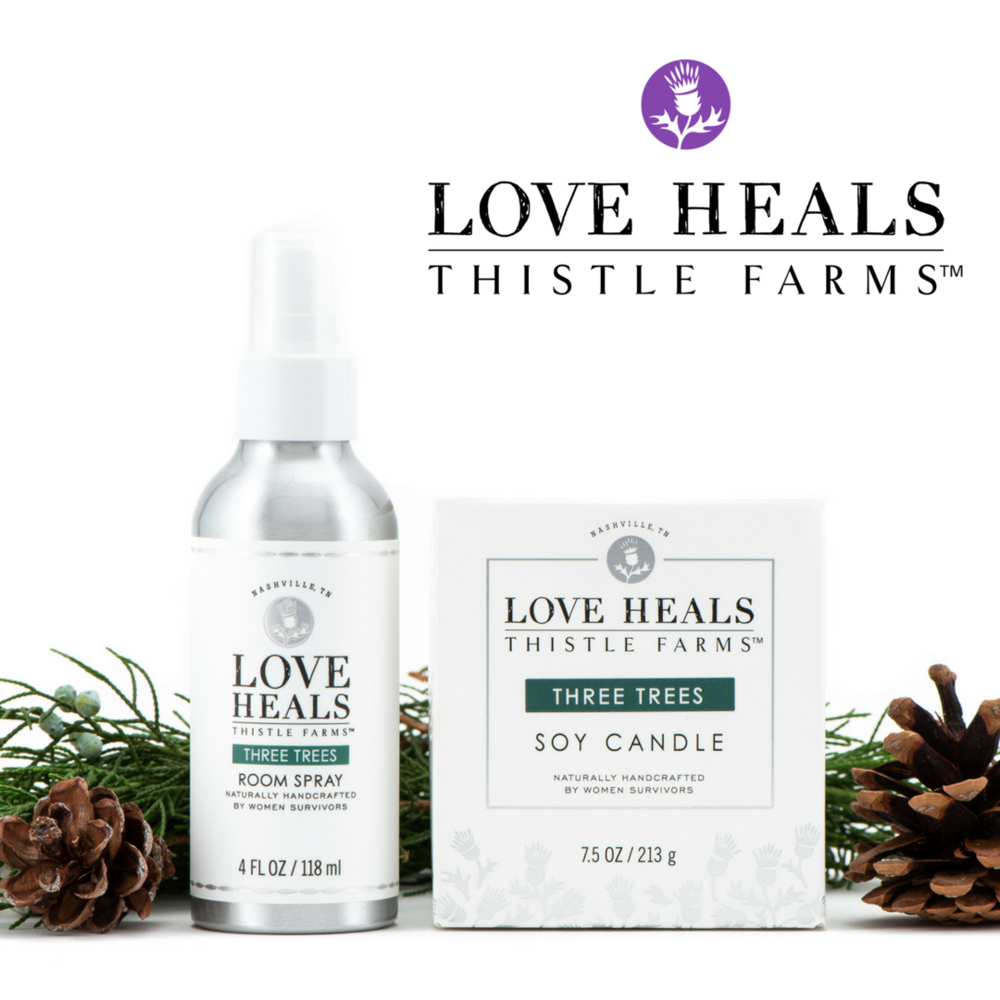 thistle farms - Tap into the joy of this special season with the invigorating scent of Three Trees. This classic holiday scent promises lasting memories and feelings of peace during many cherished celebrations. Blended with pure essential oils, their hand-poured soy candle and room spray will fill your living space with herbal notes of nature that reduce stress and promote a sense of well being. This limited edition Thistle Farms duo features silver, gift-ready packaging and the promise that love is the most powerful force for change in the world.www.ThistleFarms.org