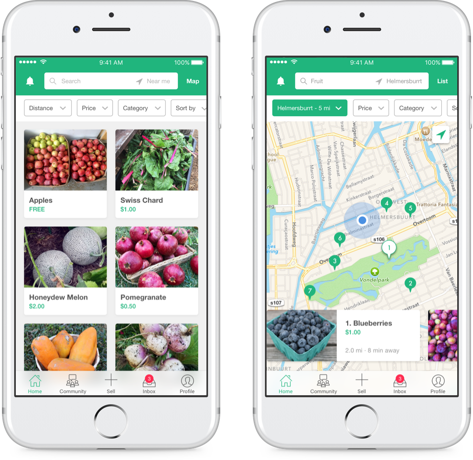 Ripe Here - A local food app that connects backyard gardeners and food enthusiasts who want to buy, sell, or share their extra produce.