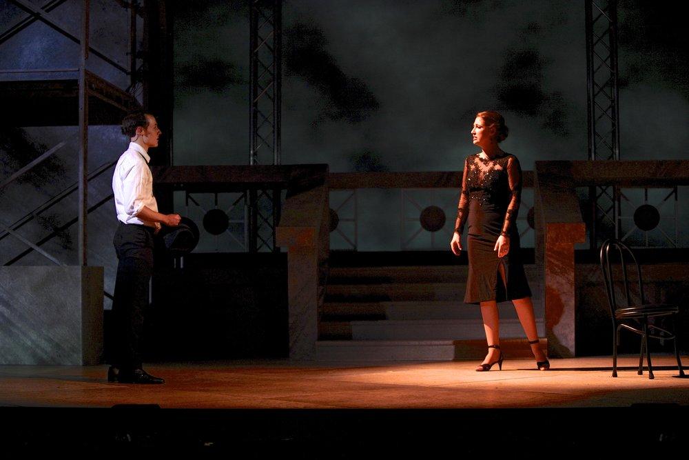 Ezekiel Edmonds (Guido) and Emma Roos (Luisa) in NINE. Photo by Michael Davis.