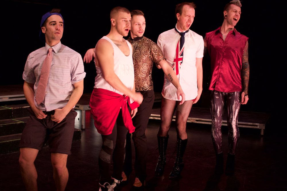 MAN UP! presents SPICE BOYS at La Cité Francophone: (from left to right) Kidd Crimson (Jordan Sabo) as Baby, Rusty Kingfisher (C.J. Rowein) as Sporty, Fitzgerald Bitchwilliam III (Joshua Wolchansky) as Posh, G.Venchy (Gregory Caswell) as Ginger, and Beau Creep (Brennan Doucet) as Scary.