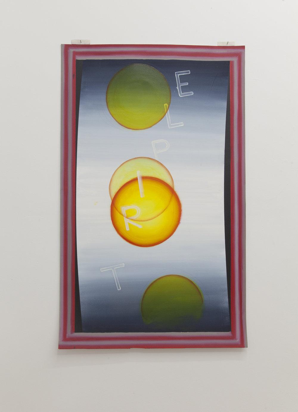 Luke O'Hallorian,  TRIPLE SUN, PLEASE PLEASE PLEASE,  2018, oil on paper, 24 x 39 inches