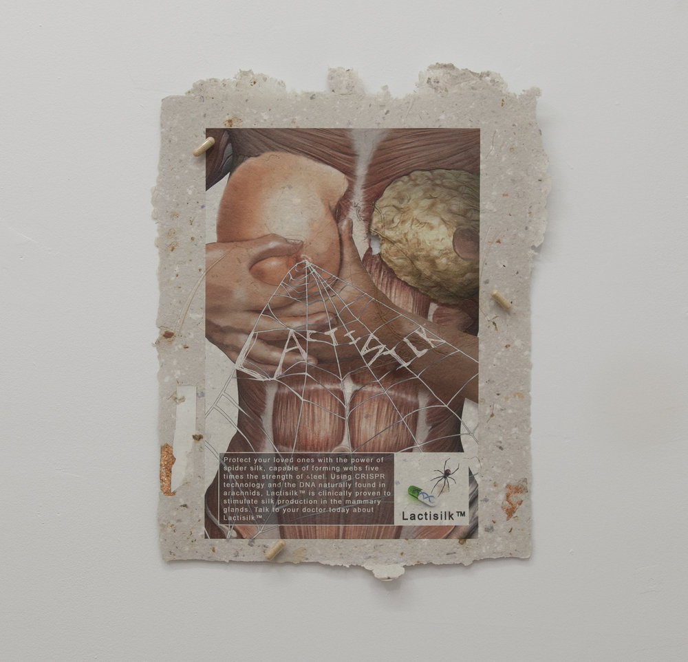 Loney Abrams & Johnny Stanish,  Lactisilk™ , 2018, UV print on handmade paper (pulped Wall Street Journal, copper foil, sunscreen, incense wrapper, price tag, collagen peptides, rose petals, RAW rolling paper, magnesium chloride bath salts, dandelion root, keto matcha protein powder, chrysanthemum buds), Neurohacker nootropic pills, magnets, 18 x 14 inches