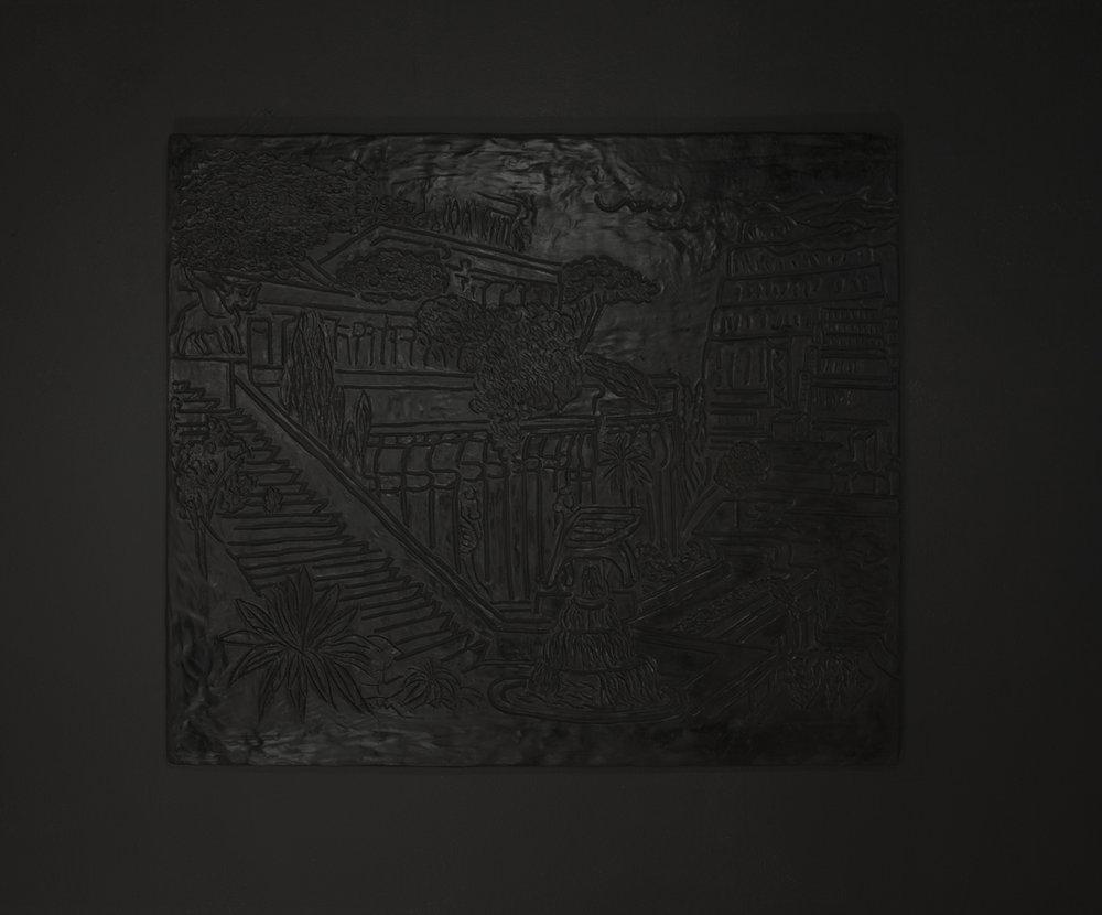 Below the map was written a single sentence (Der Hängende Garten von Babylon) , 2018. Aqua Resin, fiberglass. 30 x 26 in/ 76.2 x 66.04 cm