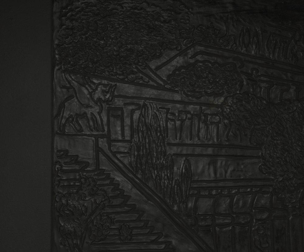 Detail:  Below the map was written a single sentence (Der Hängende Garten von Babylon) , 2018. Aqua Resin, fiberglass. 30 x 26 in/ 76.2 x 66.04 cm
