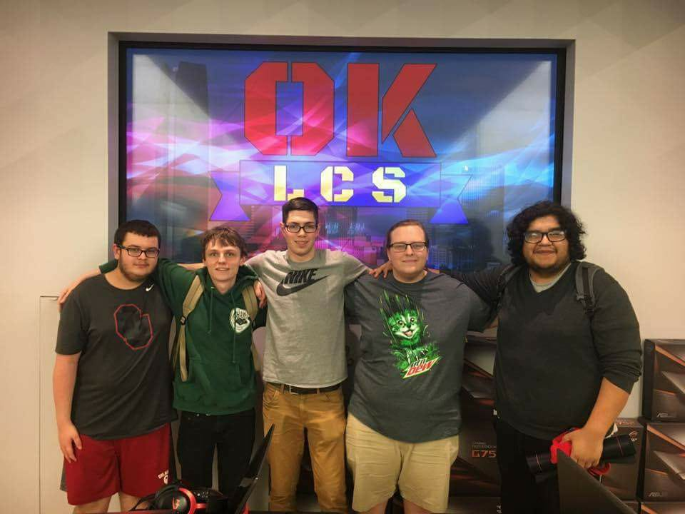 "Devin ""iiSilverhammer"" Wilson, Garrett ""TrueHeart"" Wallace, Parker ""Ignopious"" Inglett, Dallas ""Trodelor"" Harvick and James ""Yuna x Tidus"" Gonzales Jr. of OKLCS S4 Platinum-capped team Oklahoma Gold Rush."