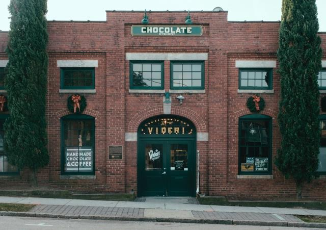 The Videri Chocolate Factory is located inside a historic train depot building close to downtown Raleigh in the warehouse district.