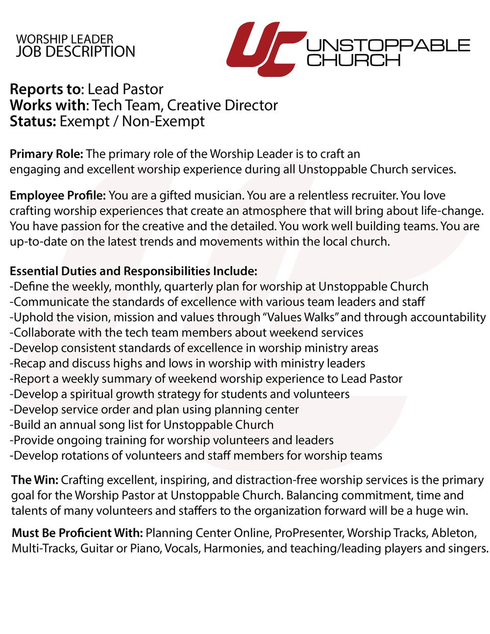 Unstoppable Church Worship PastorJob Description-01.png
