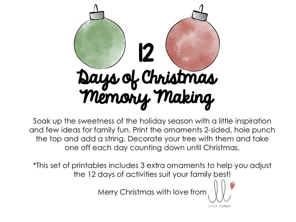 12 Days Of Christmas Memory Making Little Learner