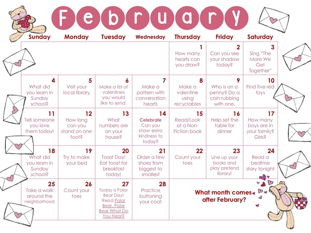 Click to get your February Play & Learn Calendar!  -