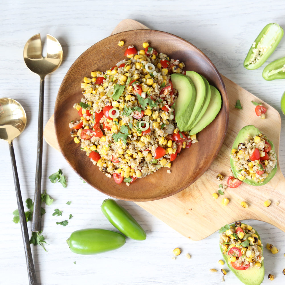 AVOCADO SALAD WITH CORN & TOMATO