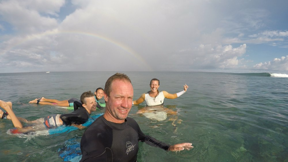 Family surfing travelling the world