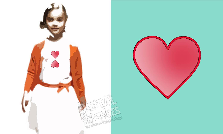 Digital sketches u embroidery design heart applique
