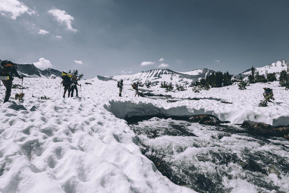 crossing a totally safe snow bridge