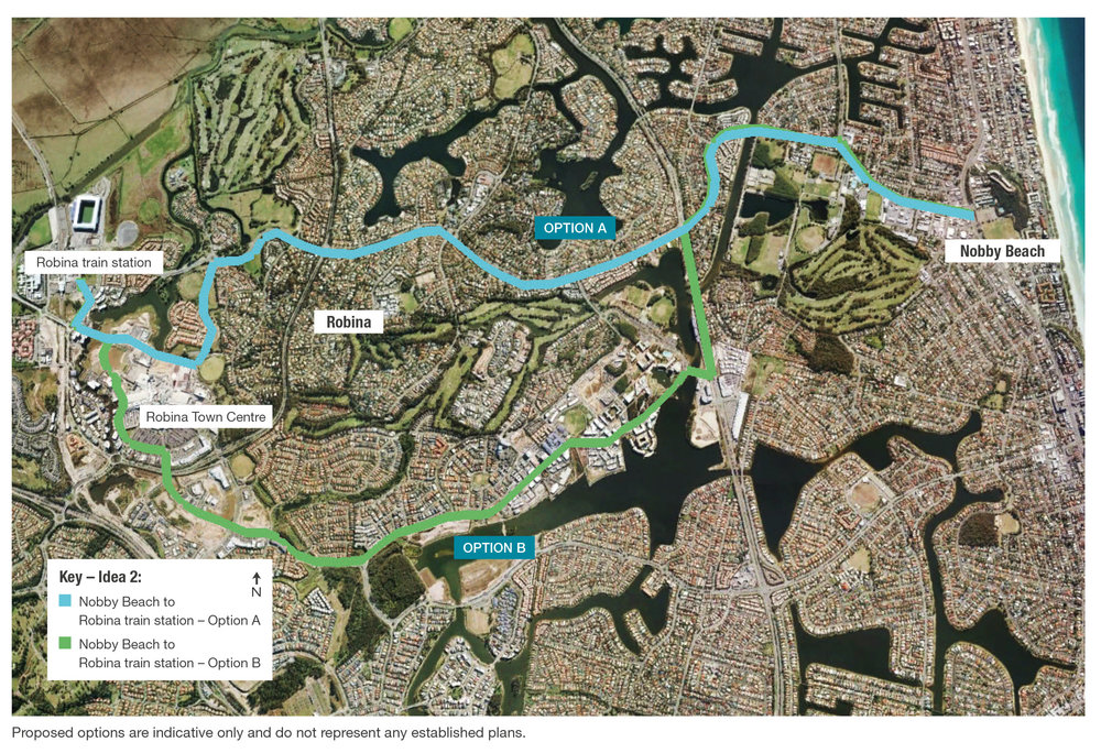 Light Rail Southern Gold Coast Route Options Robina Hardware Lane