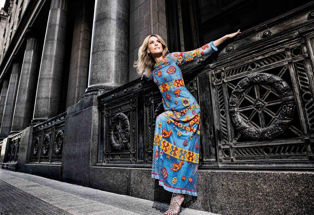 Valentino Rossella Della Giovampaola Blue Longsleeve Dress