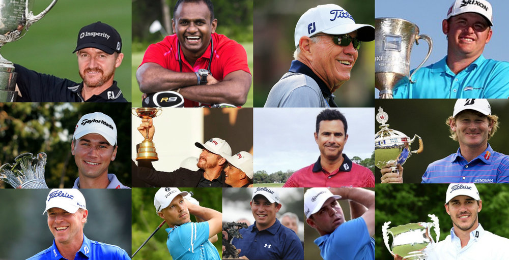 From Top Left: Jimmy Walker, Dr. Ara Suppiah, Butch Harmon, JB Holmes, Sean O'Hair, Jimmy Walker and Rickie Fowler at Ryder Cup 2016, Claude Harmon, Brandt Snedeker, Steve Stricker, Ben Crane, Scott Stallings, Gary Woodland, Brooks Koepka