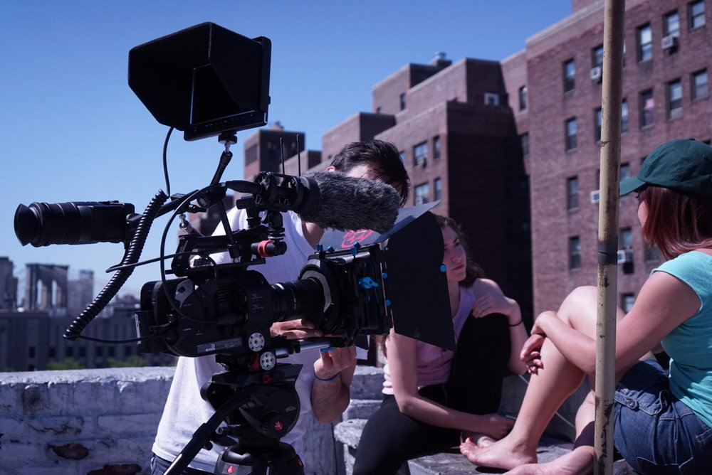 Behind-the-scenes shots from a film shoot in NYC
