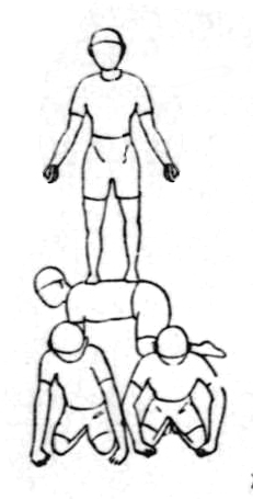 Human Pyramid - More width at base for stability