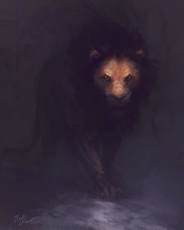 """This painting was inspired by one of my favorite books, """"In A Pit With A Lion On A Snowy Day"""" by Mark Batterson. I originally painted this back in 2015 as a personal project, but forgot about it when I got busy with client work. The book is essentially about facing your fears head on. More so, it's about how our greatest opportunities often present themselves as our greatest fears, such as a 500lb lion in this case. . . . #Tbt #illustration #coverart #artistoninstagram #art #instaartist #instaart #artoftheday #painting #digitalpainting #digitalart #wildlife #rainforest #nature #lion #NY #NYC #dreaming @markbatterson @lions.arena @animalplanet #animalsofinstagram #bigcat #reading #animallover #naturegram #fear #fearless #author #book #Bible"""