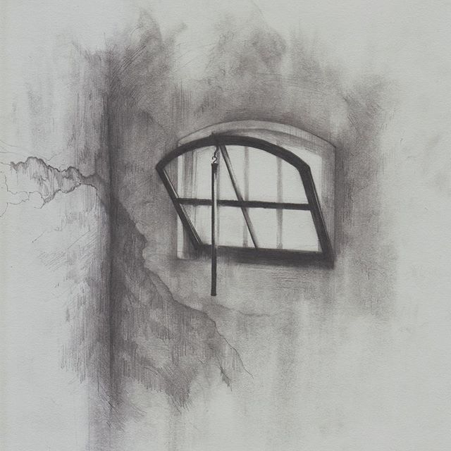 This drawing was meant to capture Bonhoeffer's prison cell in the concentration camps. Instead of drawing the entire room, I focused in on the window and the cracked walls to emphasize the conditions he had to live in. . . . #illustration #theaterarts #theater #artistoninstagram #art #instaart #mixedmedia #graphite #digitalart #NY #NYC #clouds #instaartist #logo #branding #design #bonhoeffer #performingarts #mainstage #theaterlife #mattepainting #production #actor #actress #history #drama #show