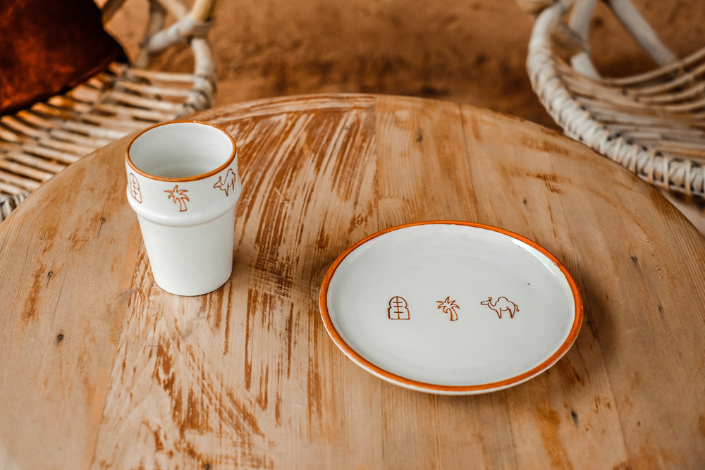 CERAMICS - handmade terracotta pottery, designed with our statement Laith + Leila symbols that represent magical morocco.