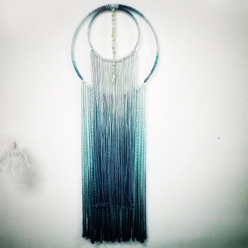 Ombre Teal  Wall Hanging with Jade stones