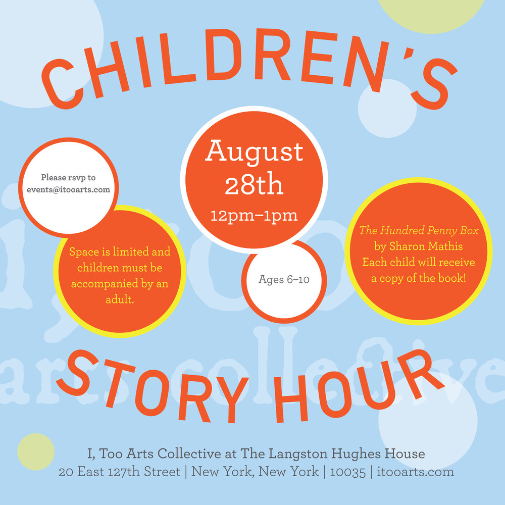 Please RSVP to events@itooarts.com with the number of children (ages 6-10) in your party. We look forward to our first Children's Story Hour!