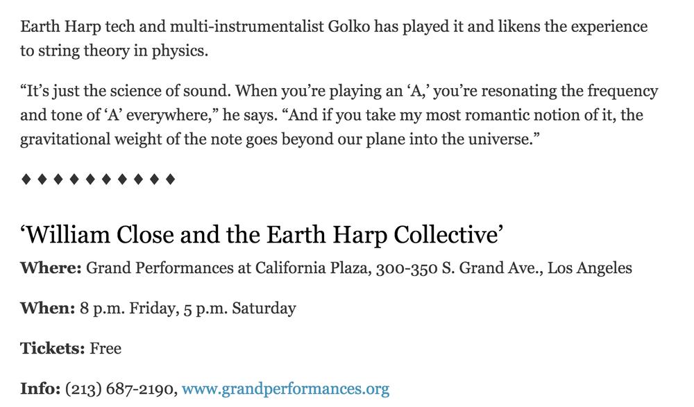 Quoted in an article by the LA Times on the subject of sound physics while assisting Close's installation team leading up to the performance.   By   JESSICA GELT