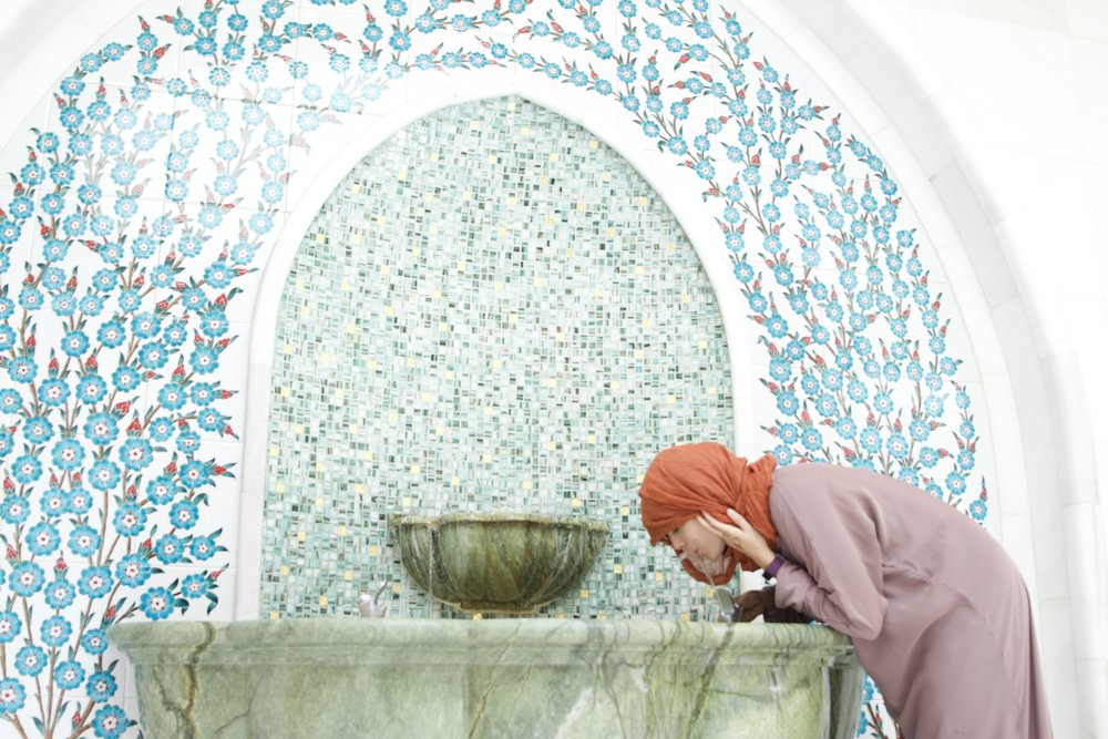 Bathroom fountain at the Abu Dhabi Mosque.