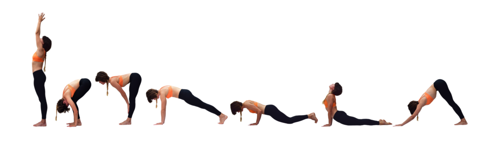 Sun salutation A with knees down