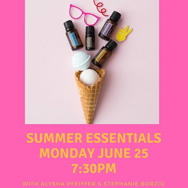 Join us next week. We only have a few spots left! Alysha and Stephanie will be talking summertime with essential oils. They will share natural and chemical free ways to stay cool, treat sunburn, keep bugs away, and more! Please RSVP by June 23rd - call or message us📞📱 Refreshments will be provided. Hope to see you there☀️ @alyshapfeiffer @truyouessentials