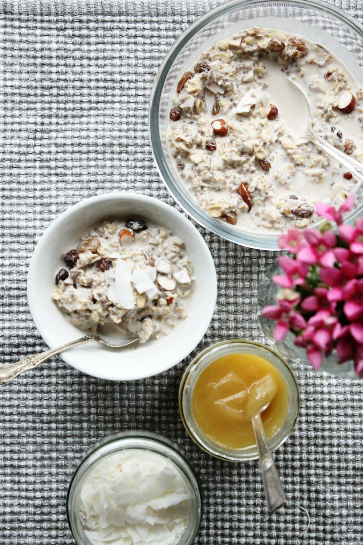 Vegan Bircher Muesli With Sultanas And Coconut Flakes Beloved Kitchen