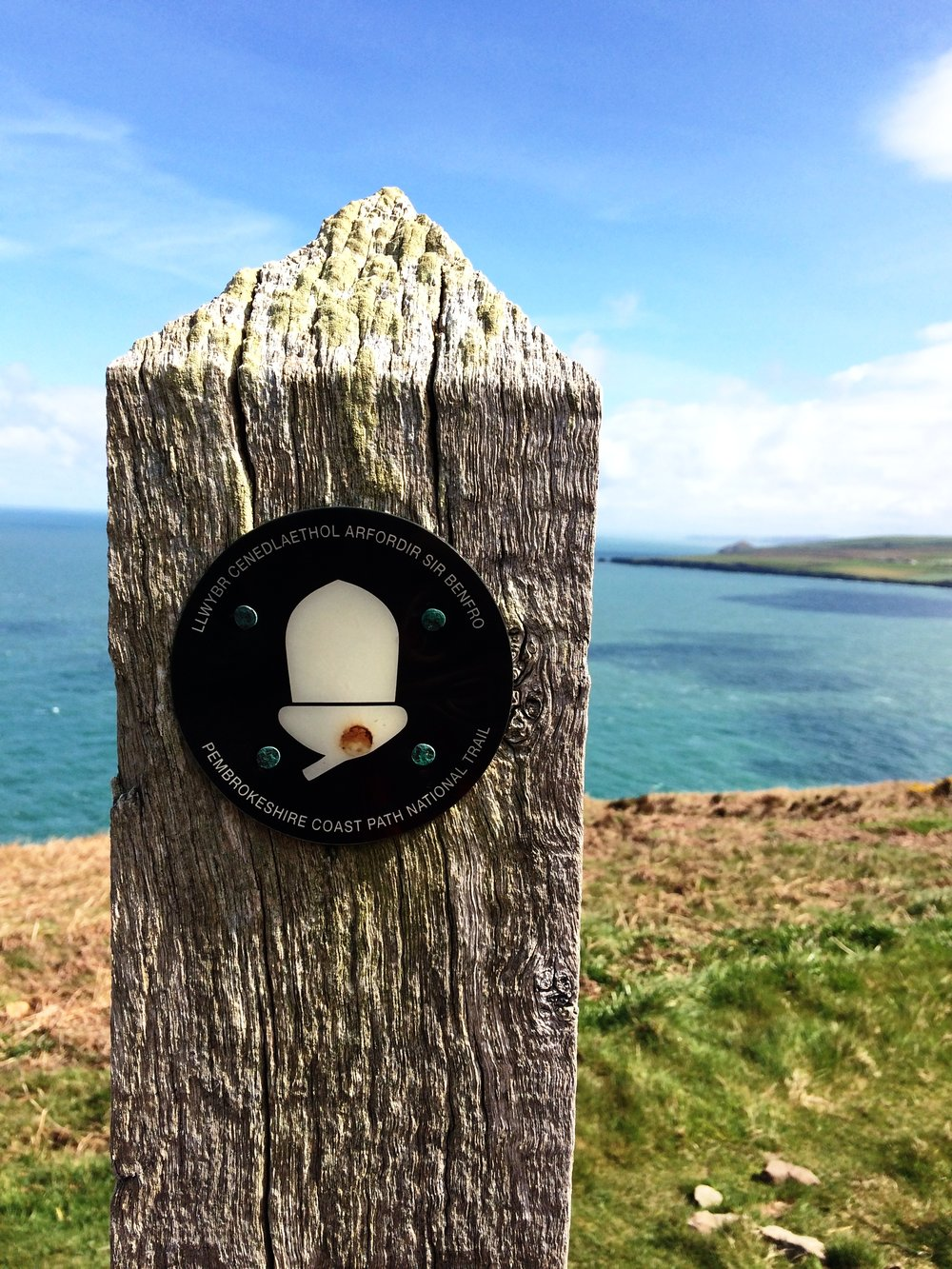 The Pembrokeshire Coast Path is marked by an acorn symbol