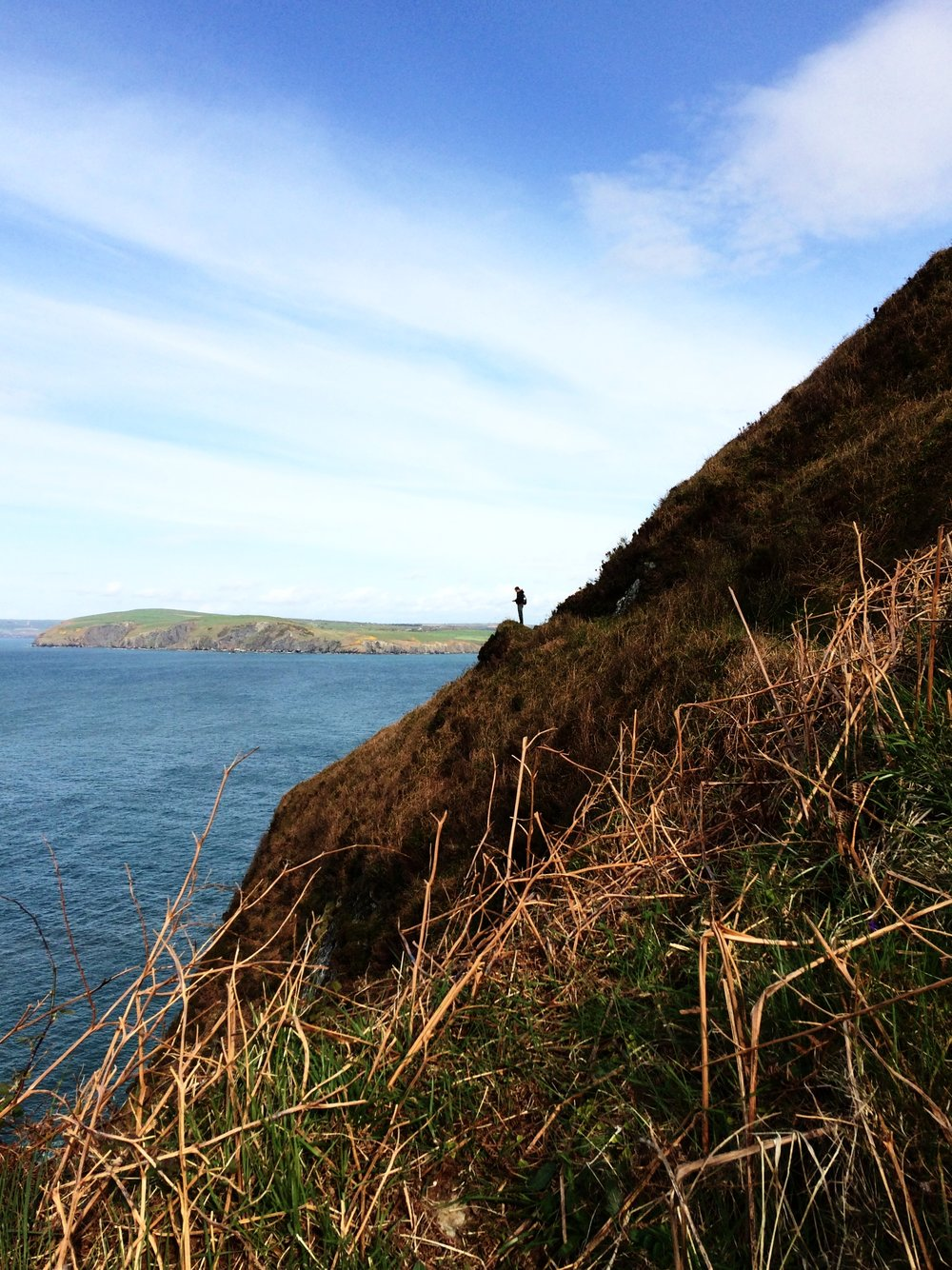 Christian on the Pembrokeshire Coast Path at Dinas Head
