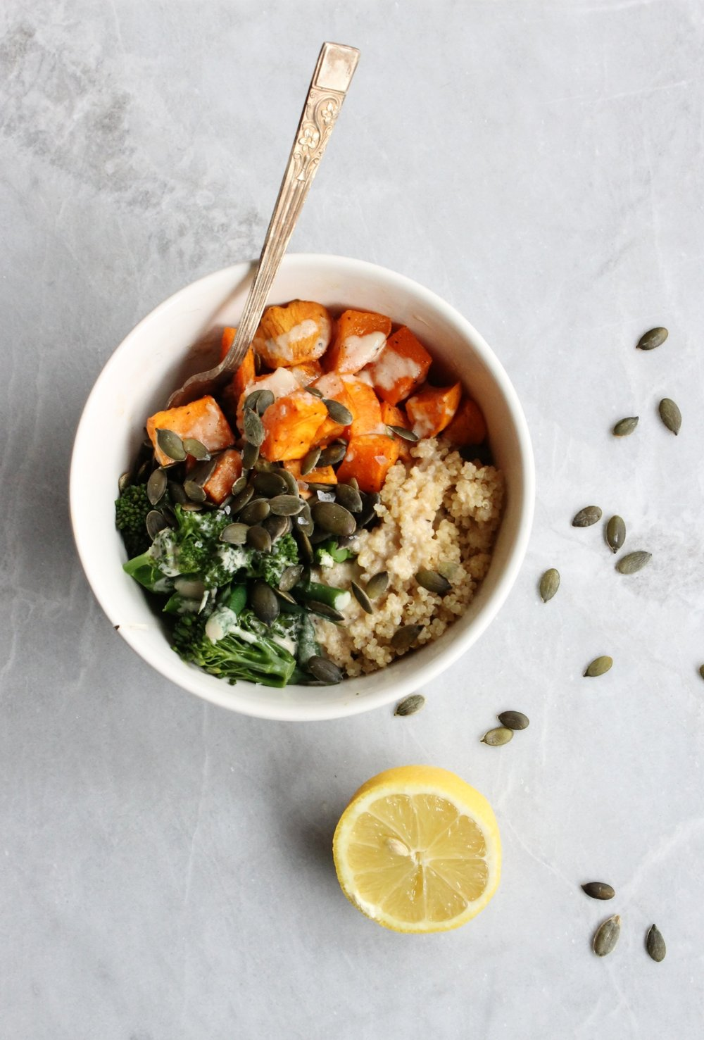 Sweet potato tahini quinoa bowls | Beloved Kitchen