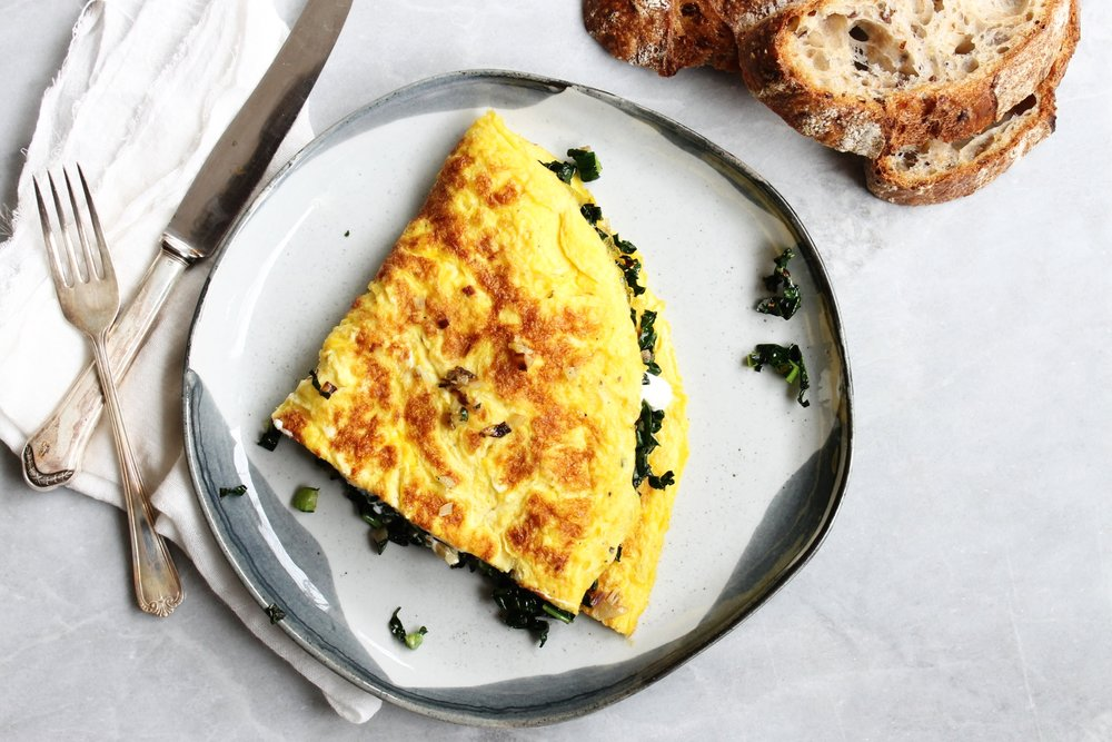 Kale, shallot and goats' cheese omelette | Beloved Kitchen