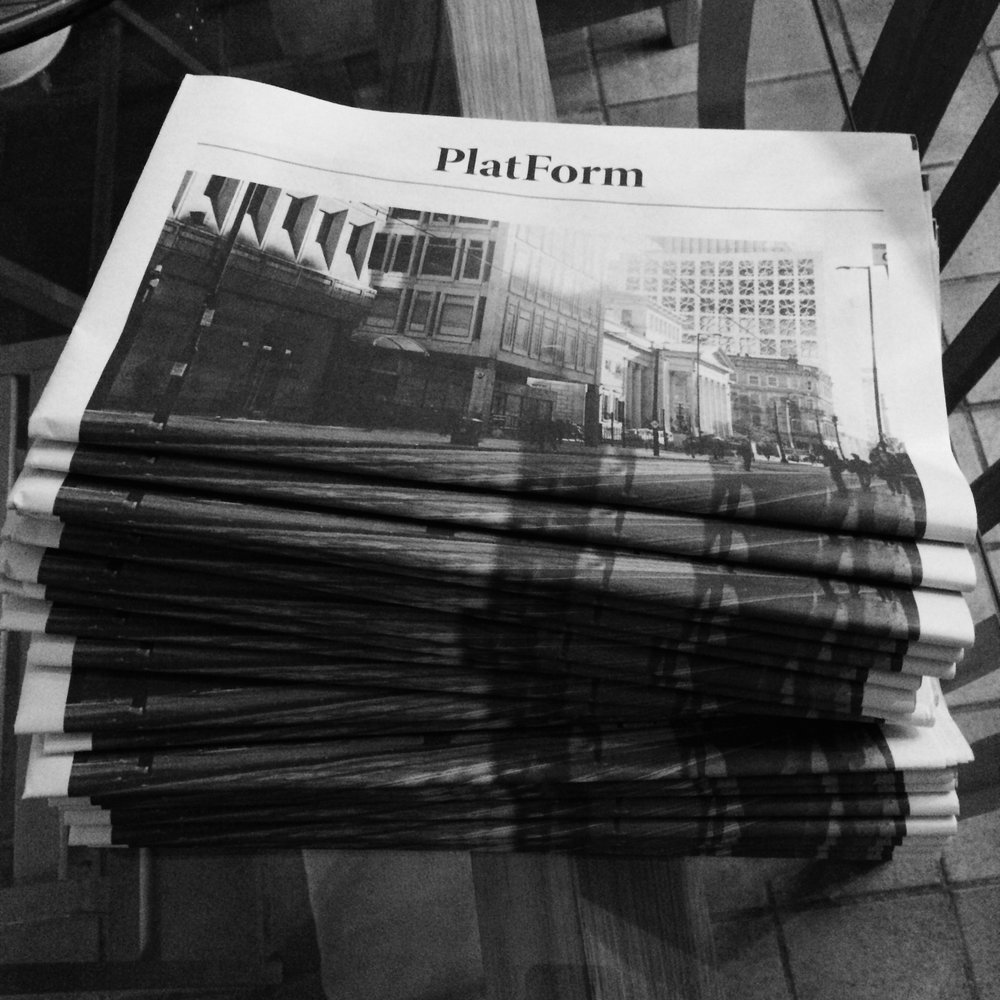 Self-published newspaper / artist's book, PlatForm, printed December 2016. A photographic narrative and poem about everyday journeys through Manchester. Limited edition distributed in public areas of Manchester.