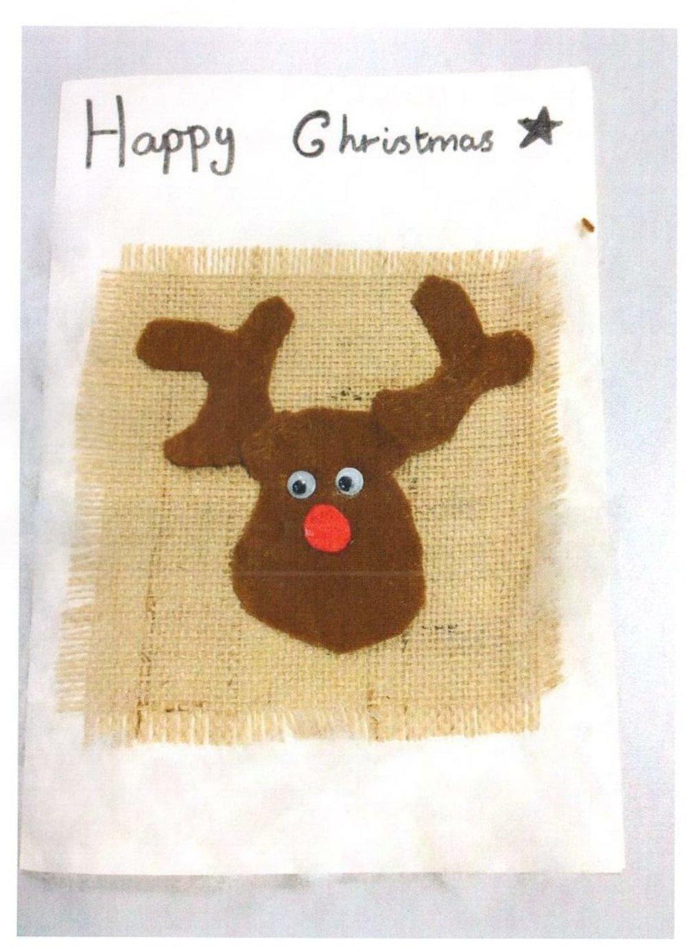 Darcie's winning hand-stitched reindeer.