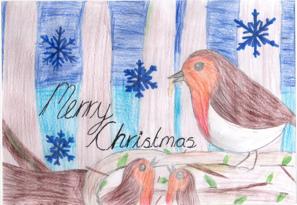 The winner of my 2018 Christmas Card competition - Valerie from Bromstone Primary School