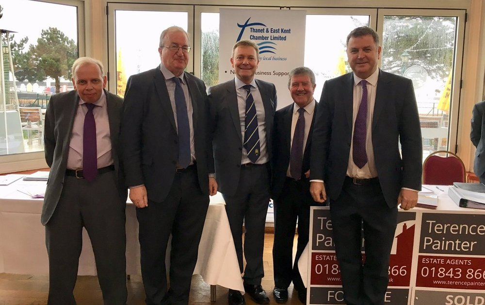 From left to right - Harry Kemp, David Foley, Craig Mackinlay MP, Terence Painter, The Rt Hon Mel Stride MP