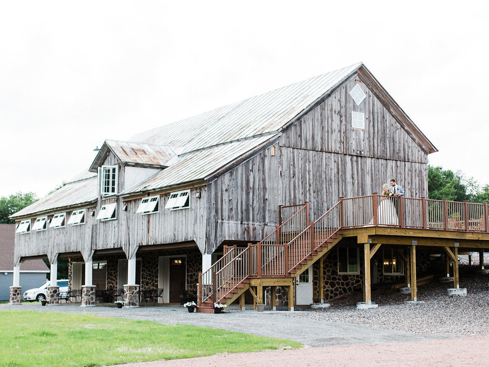 Front view of the wedding barn