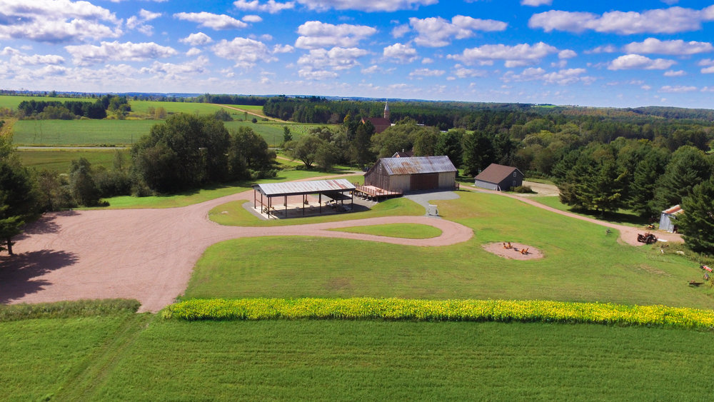 Arial view of the barn