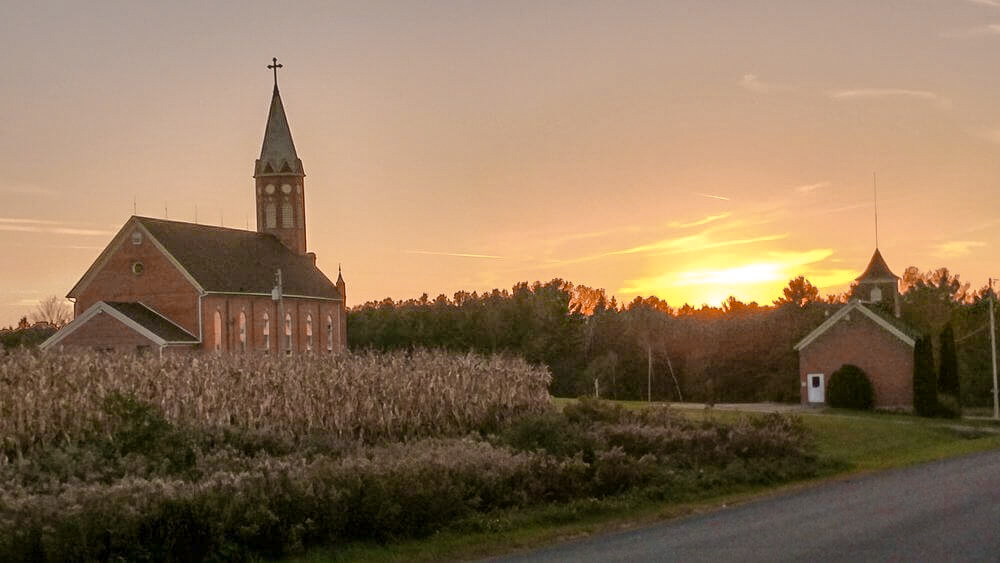 Sunset view of the church
